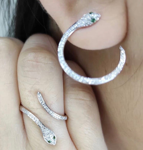 Emerald Eyed Snake Jewelry Set with Diamonds 14K White Gold