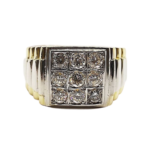 1.0ct Three-Squared Diamond Men's Ring 14K Gold