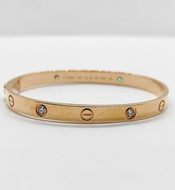Love Diamond Clip Type Bangle in 18K RoseGold