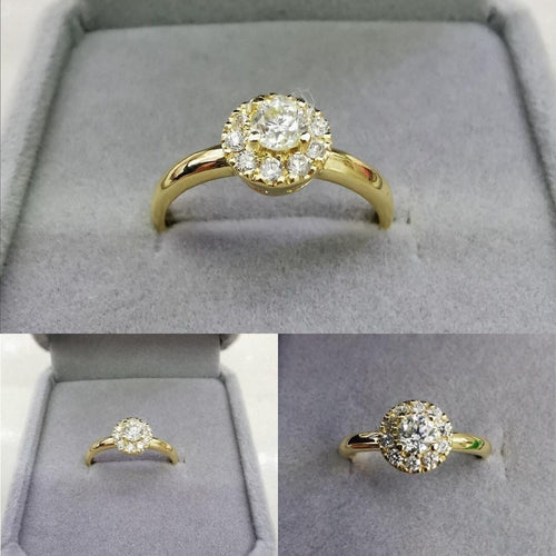 Diamond Halo Engagement Ring 18K Gold Pre-Order - ZNZ Jewelry Philippines