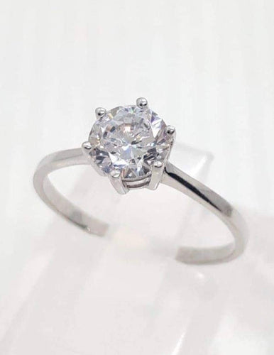 Engagement Ring 18k White Gold 6 Prong