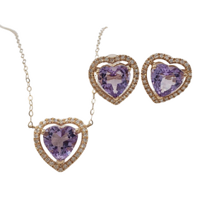 Amethyst Heart Diamond Halo Jewelry Set in 18K Gold