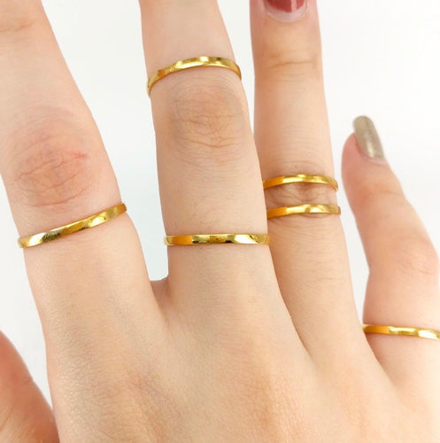 CLAIRE Super Skinny Stacking Ring in 18K Gold, Lots of Sizes 4-13 including Half Sizes! - ZNZ Jewelry Philippines