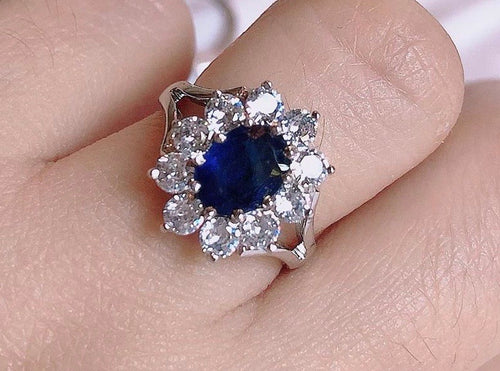 LADY DI Blue Sapphire Halo Ring in 14K White Gold, Made-to-order - ZNZ Jewelry Philippines