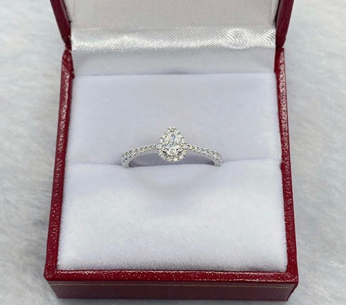 .19ct Pear Diamond Halo Engagement Ring in 18K White Gold - ZNZ Jewelry Philippines