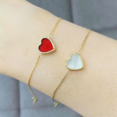 Heart Gold Bracelet for Women 18K