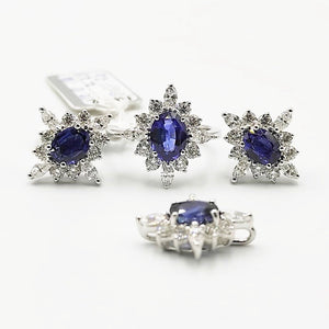 Blue Sapphire Diamond Halo Earrings, Ring, Pendant Jewelry Set 18K White Gold