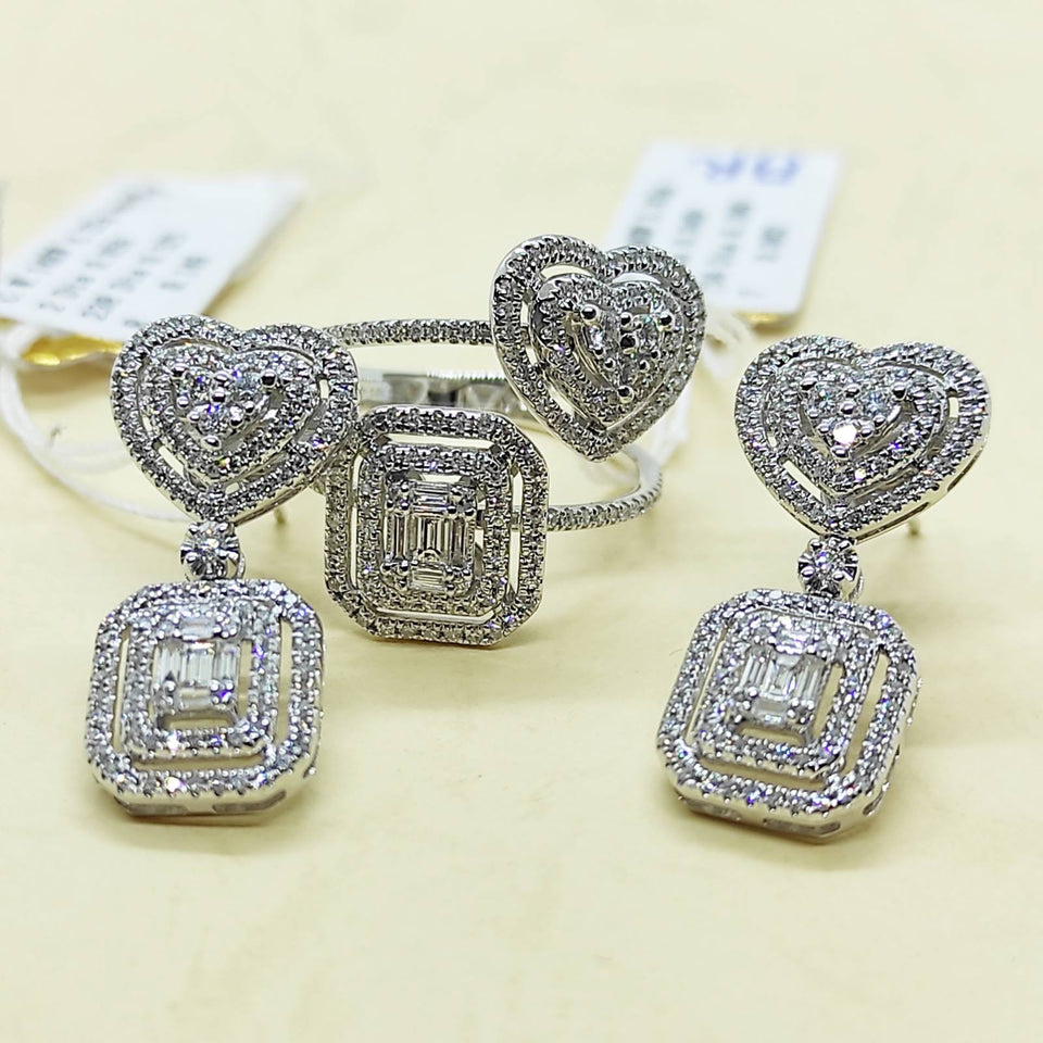 1.21ctw Heart-Emerald Illusion Diamond Jewelry Set 14K White Gold