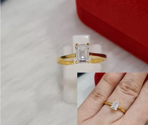 EMERY 18K Gold Emerald Cut Engagement Ring