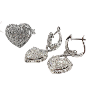 3.5ctw Heart Diamond Jewelry Set 14K White Gold with Infinity Accent