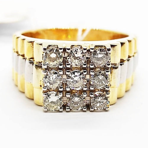 1ct Diamond Three-Squared Men's Ring 14K Gold