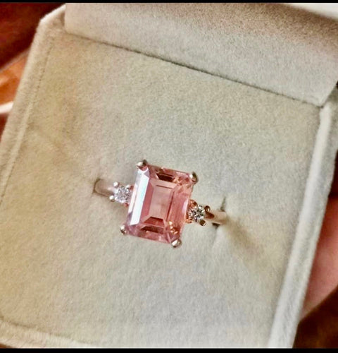 GEORGIA 7ct Emerald Cut Morganite Ring with .10tcw Diamond Sides in 14K RoseGold - ZNZ Jewelry Philippines