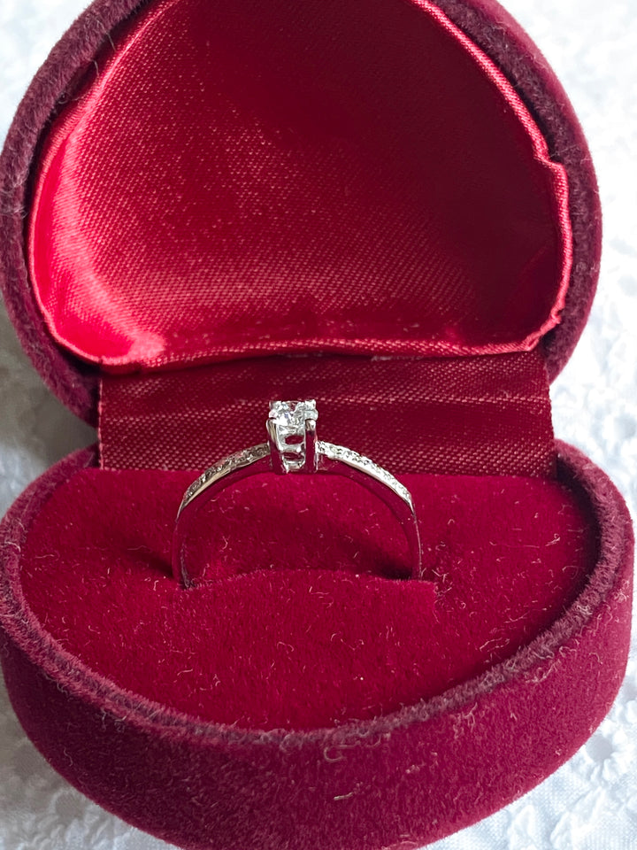 .25ct Diamond Engagement Ring with .02ct Diamond Side Stones, Women's Ring, Anniversary or Birthday Gift, Gift for Self