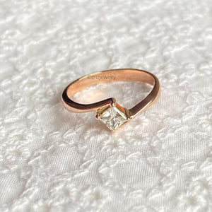 GIA Princess Cut Engagement Ring 18K Rosegold