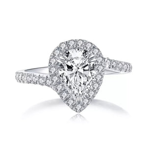 Pear Cut Halo Twist Engagement Ring 925 Silver