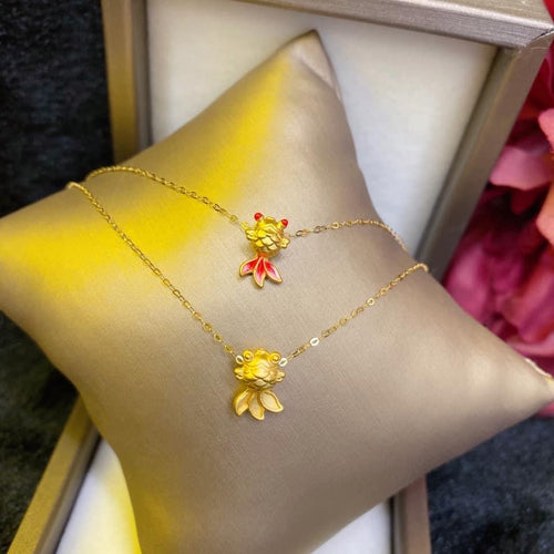 Women's Necklace, Koi Fish, 24K Gold Pendant with 18K Gold Chain