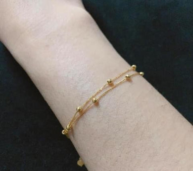 Double Layer Beads Bracelet 18K Gold