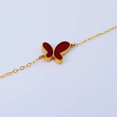 Butterfly Women's Bracelet 18K Yellow Gold, Red Carnelian