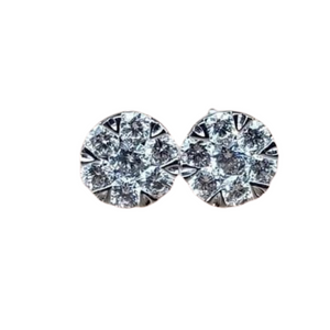 .62ct Diamond Illusion Stud Earrings 18K White Gold with Gold Lock