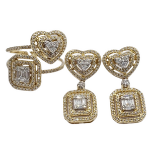 1.21ctw Heart-Emerald Illusion Diamond Jewelry Set 14K Yellow Gold