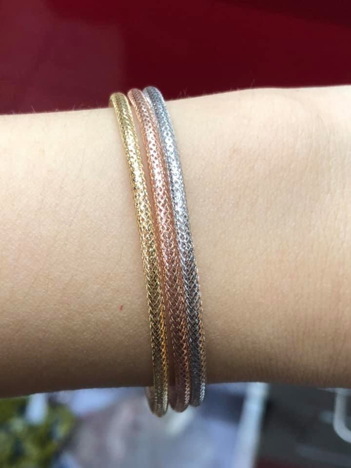 Tricolor Soft Bangles in 18K Gold - ZNZ Jewelry Philippines