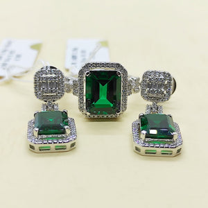 8.2ctw Green Emerald Diamond Halo Dangling Earrings Jewelry Set 14K White Gold
