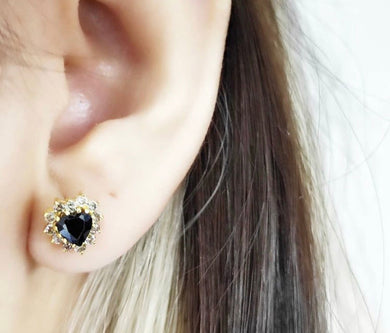 Heart Black Onyx Diamond Earrings
