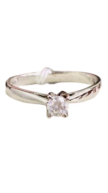 Engagement Ring White Gold, .20ct Diamond Solitaire, LILIBETH