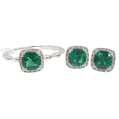 Emerald Diamond Halo Jewelry Set 14K Gold