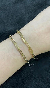 Paperclip Gold Bracelet for Women 18K
