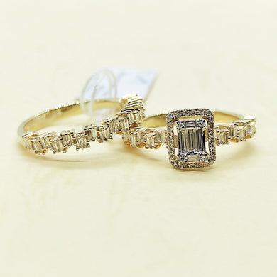 .49ctw Diamond Engagement Ring and Jigsaw Half Eternity Bridal Wedding Ring Set 14K Yellow Gold