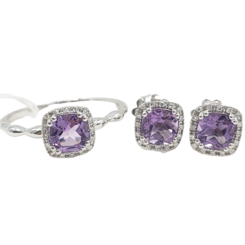 Amethyst Diamond Halo Jewelry Set 14K Gold