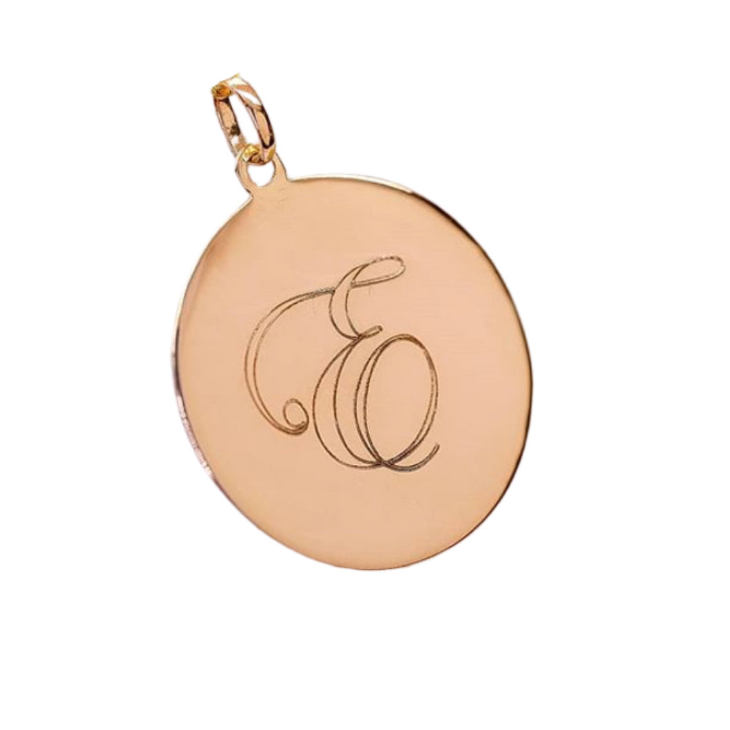 Letter Disc Pendant in 14k Yellow or White Gold,