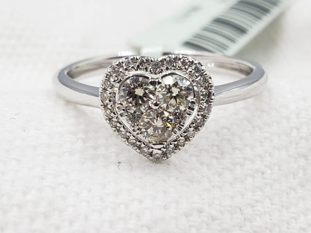 Heart Illusion Diamond Halo Engagement Ring / Women's Ring / Birthday Gift / Anniversary Gift / Push Present
