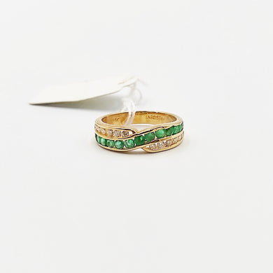 Emerald Diamond Crossover Half Eternity Ring/ Women's Ring in 18K Gold