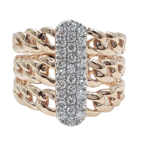 .40ct Diamonds Men's/Ladies' Ring, Three Layer Curve Chain Band 14K Rose Gold