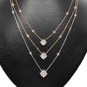 .60ctw Three-Layer Diamond Necklace 14K Gold