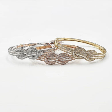 1.3ctw  Diamond Studded Infinity Bangle in 14K Gold