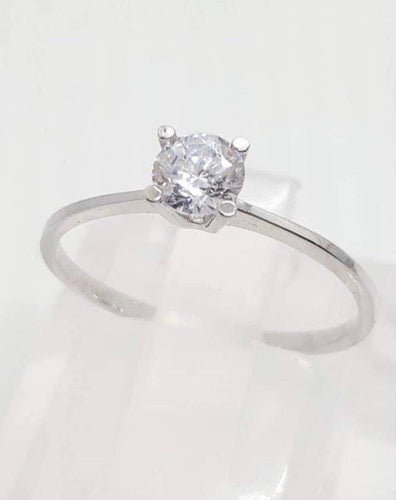 Engagement Ring 18K White Gold Solitaire