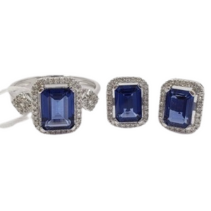 3.4ctw Blue Sapphire with Diamond Earrings & Ring Jewelry Set 14K White Gold