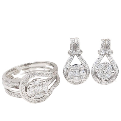 Two- Way Detachable Stud Earrings Diamond Jewelry Set 14K White Gold