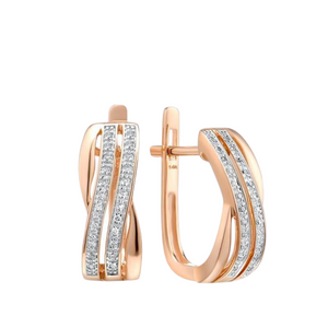 Diamond Twin Overlap Huggy Earrings Luxury 14K Rosegold