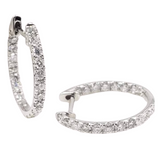 1ct Diamond Hoop Earrings 18K White Gold