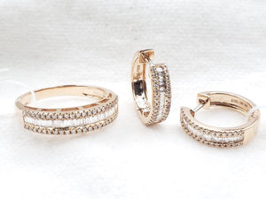 Diamond Half Eternity Jewelry Set 14K Rosegold
