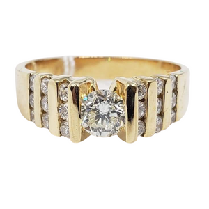 .38ct Round Diamond Ring with .50ct Side Diamonds, Ladies' Ring, Anniversary or Birthday Gift