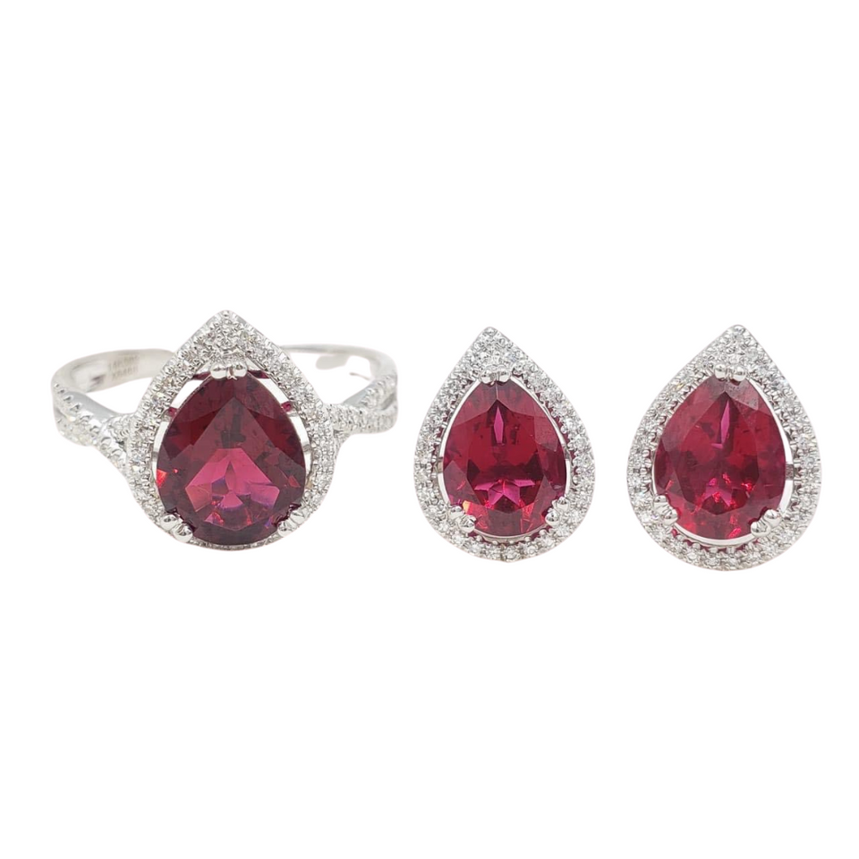 Pear-Shaped Ruby Diamond Halo Jewelry Set 14K White Gold