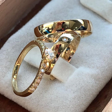 LEORA Trio Engagement Ring with Wedding Band