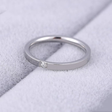 2mm Wedding Rings / Couple Rings with Single Flushed Indented Stone, Monica
