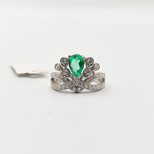 Tiara Crown Ring with Green Emerald and Diamonds 18K Gold