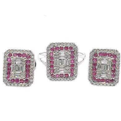 Diamond Jewelry Set Emerald Illusion with  Ruby Accent 14K White Gold